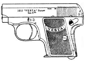 Vesta VP, Model 1912, .25ACP, 5 RD Magazine or Grips Image